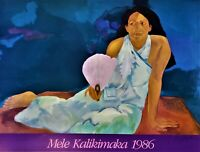 PEGGE HOPPER Lithograph Poster HAND SIGNED 1986 Mele Kalikimaka MERRY CHRISTMAS