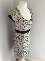 Jigsaw Floral Fitted Shift Wiggle Dress Metallic Party Evening Wedding Size 12