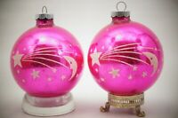 "Vintage SHINY BRITE Pink Stenciled Christmas Ornament MOON SATURN STARS 3"""