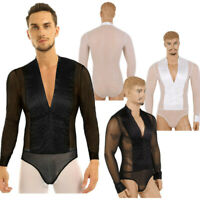 Men Deep V-neck Mesh Latin Dance Leotard Ballroom Competition Bodysuit Top Shirt