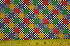 By 1/2 Yd, Bright Squares & Black Checks Stiffer Quilting Cotton, Cranston M7411