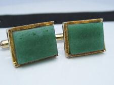 Antique Art Deco Chinese Green Jade Gemstone 14K Yellow Gold Cufflinks