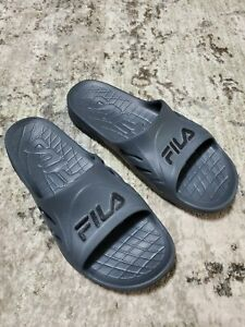 Men's Fila Gray Slides Slippers Size 9 M Mules Pool Side Outdoor