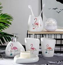 Flamingo 6pcs Bathroom Accessories Set Soap Dish Tumbler Toothbrush Holder White