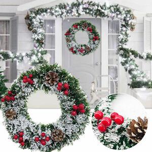 2021Artificial Pine Cone Snow Wreath Garland Window Door Christmas Hanging Decor