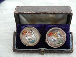 Antique Novelty Silver Enameled Coin / George & Dragon Cufflinks & original box