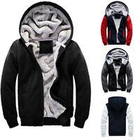 Men's Winter Warm Fleece Lined Hooded Sweat Hoodie Sweater Cardigan Jacket Coat