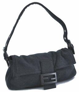 Authentic FENDI Mamma Baguette Shoulder Hand Bag Canvas Leather Gray E1712
