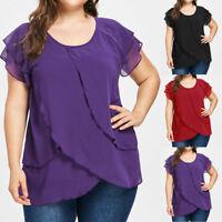 Women's Chiffon T-Shirt Casual Short Sleeve Plus Size Solid Blouse Tops