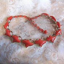 Vintage Coro Orange Choker-Style Thermoset Plastic Necklace