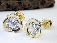 585 Gold Ohrstecker 1 Paar 8 mm Grösse mit gefassten Zirkonia Steinen