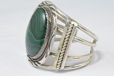 Woman's .925 Sterling Silver Navajo Handmade Bracelet Natural Malachite Cuff
