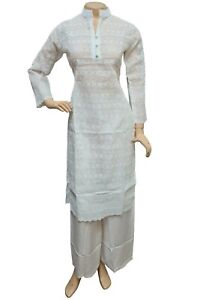 Indian Pakistani Cotton Chikan Embroidered Kurti Top, Casual Stitched Kameez