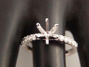 Gabriel Co 14k .36 tcw D/VVS Diamond Engagement Setting Holds 1.30-1.80 ct Round