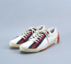 GUCCI Web GG Sneakers Boulevard Low-Top White Leather On Track Shoes 38 US8