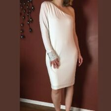 Calvin Klein Women's One Shoulder Embellished Cuff Dress (14, Eggshell) NWT
