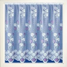 LAVENDER PINK MARIGOLDS DAISY FLOWERS WHITE LACE NET CURTAIN SOLD BY THE METRE