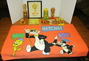 Vintage Looney Tunes Tweety Bird Large Lot (11)W/Candle+ Bookmark+Ornament+Patch