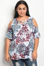 NEW..Stunning Stylish Plus Size Blue Floral Print Cold Shoulder Top ..Sz20/3XL
