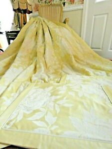 Dorma King Size Quilted Bedspread Lemon Chatsworth Rose Floral & 2 Pillowcases