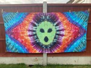 """Tie dye trippy alien head psychedelic large tapestry 100"""" x 49"""" upcycled"""