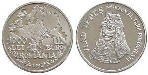 Romania 3000 LEI - 1 EURO 1996 DRACULA VLAD TEPES ALUMINIUM COIN PATTERN PROOF
