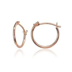14K Rose Gold Small 12mm High Polished Round Hoop Earrings Pink Lightweight