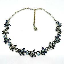 Vintage Jewelcraft Coro Necklace. 1950s. Floral. Enamel. Rhinestone....