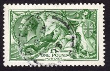 GB KG V 1913 £1 pound: Deep green Seahorse : Waterlow: SG 403 SUPERB FINE USED