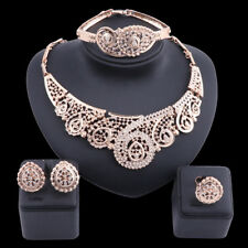 Women Necklace Jewelry Set Gold Plated Crystal Costume Fashion Wedding Party