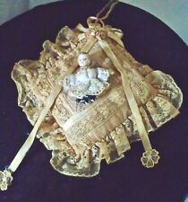 Vintage Lace Embellished Hanging W/ Miniature Bisque Lace Dressed Doll