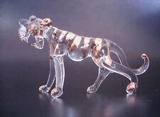 Vidrio Rayada Tigre, Rayada Ornamento de vidrio claro y Pintado Oro, Cristal animal