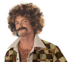Disco Dirt Bag  Adult Halloween Wig & Moustache (Blonde/Brown)