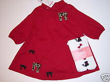 NWT Gymboree Glamour Kitty Red Bow Knit Dress & Cat Tights 3-6 Months