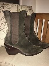 Cole Haan Brown Nubuck Suede Leather Wedge Ankle Boots 8 B