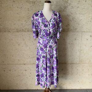 Vintage Secretary Dress Sz XL Green Purple Floral, Marching Belt, V Neck