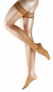 Falke Womens Shelina Stay Up Shimmer 12 Denier Stockings - Noisette Tan