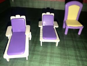 POLLY POCKET Doll Furniture Chair & 2 Chaise Lounge Chairs- Purple -Mixed Lot