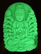 """Carving Goddess of mercy """"Glow In The Dark"""" xinjiang natural Wealth-God green"""