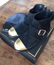 Balmain X H&M Black Suede Ankle Boots. UK 4.5. BNIB.
