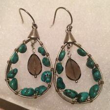 Silpada Sterling Silver Turquoise Smoky Quartz Earrings  W2215
