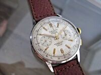 VINTAGE CAUNY WATCH CO CHRONOGRAPH 1950's SWISS MADE LANDERON  WRISTWATCH