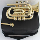 Pocket Trumpet 3V Pro Shinning Brass with Mouth Piece And Case 11/1