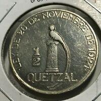 1925 GUATEMALA SILVER 1/2 QUETZAL RARE CROWN COIN