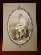 Cabinet Card BOY IN WHITE KNICKERS & SHIRT Walking Stick Cane COLUMBUS OHIO