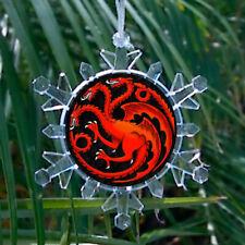 House Targaryen Game of Thrones Snowflake Blinks Holiday Christmas Tree Ornament