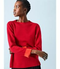 Eileen Fisher Silk Cotton Funnel Neck Top/Sweater, Lacquer/Hot Red, Medium, NWT