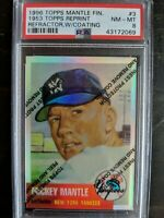 Mickey Mantle 1996 Topps Chrome Refractor w/Coating PSA 8 1953 Reprint Pop 14