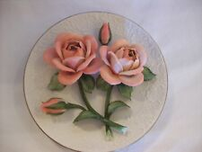 """FRANKLIN MINT """"THE SONIA ROSES OF CAPODIMONTE"""" COLLECTOR PLATE, FINE PORCELAIN"""