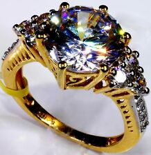 Cubic Zirconia Ring in 14K YG Overlay Sterling Silver (Size 8) TGW 11.15 cts
